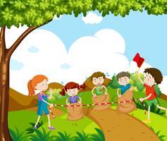 Crianças, pular, raça