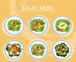 Olika plattor av sallad på menyn