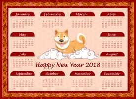 Calendar template with cute dog on clouds