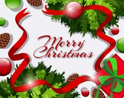 Tarjeta de feliz Navidad con cintas rojas y adornos