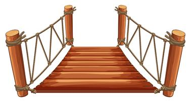 Wooden bridge with rope attached