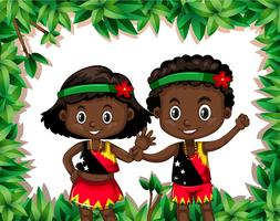 Papua New Guinea children in nature template vector