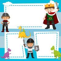 Modello di confine con i bambini in costumi medievali