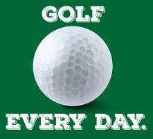 Golf ball on green poster