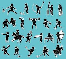 Sticker set of silhouette people doing sports