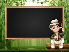 Ossatures avec l'homme dans la forêt de bambous