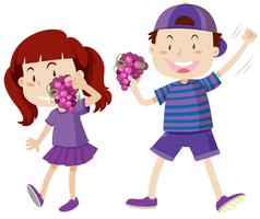 Menino menina, em, roxo, segurando, uvas