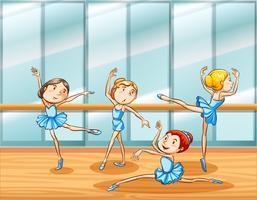 Quatro bailarinos praticam no quarto