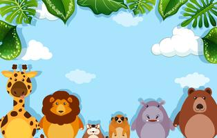 Background template with wild animals vector