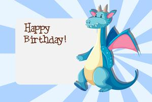 A dragon on birthday card template
