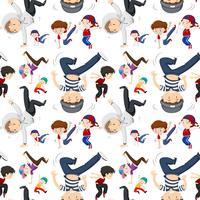 Sömlös bakgrundsmall med barn dansar