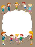 Border template with children playing