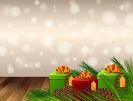 Design de plano de fundo com caixas de presentes e pinhas