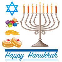 Buon tema di Hannukkah con ciambelle e luci