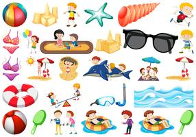 set of beach objects