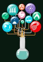 Simboli della scienza e contenitore di vetro