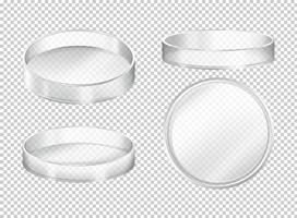 Round transparent plates on transparent background