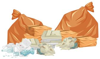 Garbage piles with bags and papers