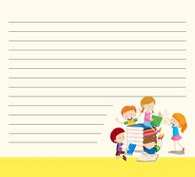 Line paper template with kids reading books