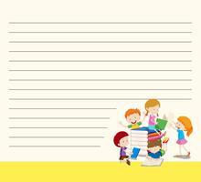 Plantilla de línea de papel con niños leyendo libros