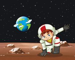 Scen med astronaut i rymden