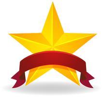 Banderolldesign med gyllene stjärna