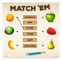 Matching game met vers fruit