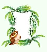 Frame design with owl and palm leaves