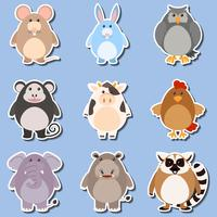 Sticker design for different types of animals