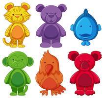 Set di personaggi dei cartoni animati degli animali