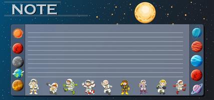 Plantilla de papel con planetas en el universo.