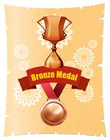 Medalla de bronce y trofeo en cartel.