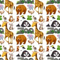 Seamless background design with wild animals
