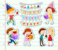 Sticker design with happy children and party decorations