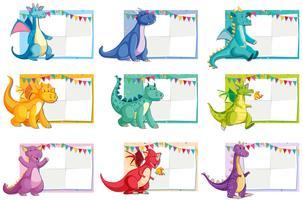 Set di concetto di carta di dinosauro