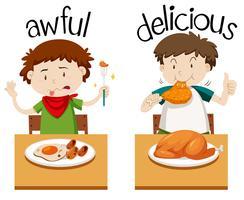 Palavras opostas para horrível e delicioso