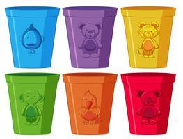 set di tazze colorate
