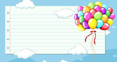 Line paper template with balloons in sky