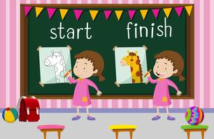 Opposite words for start and finish with girl drawing giraffe