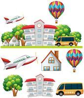 Schulszene mit Gebäude und Transporte