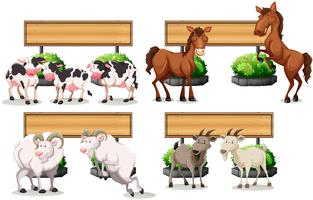 Farm animals standing by the sign