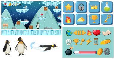 pacchetto di gioco pinguino dei cartoni animati