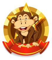 Fahnendesign mit wildem Affen