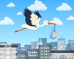 Crane flying over the city with baby boy