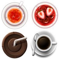 Draufsicht auf heiße und kalte Getränke