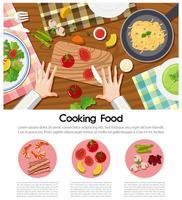 Kochen des Lebensmittelplakats mit verschiedenen Bestandteilen auf Tabelle