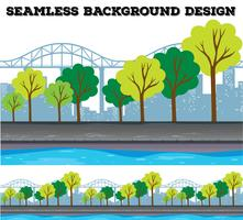 Seamless background design with trees and buildings