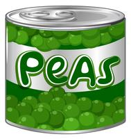Fresh peas in aluminum can