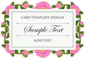 Card template with pink calendula frame