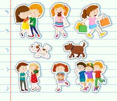 Design de adesivo com a família e amigos